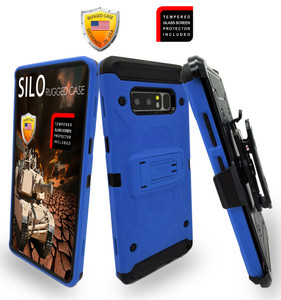 Samsung Galaxy Note 8 MM Silo Rugged Case Blue(Curved Tempered Glass Included)