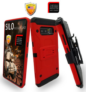 Samsung Galaxy Note 8 MM Silo Rugged Case Red(Curved Tempered Glass Included)
