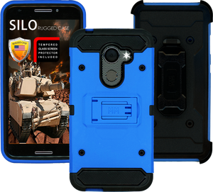 Alcatel A30 Fierce MM Silo Rugged Case Blue(Tempered Glass Included)