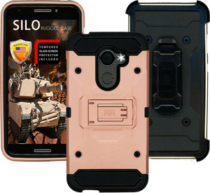 Alcatel A30 Fierce MM Silo Rugged Case Rose Gold(Tempered Glass Included)