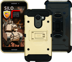 Alcatel A30 Fierce MM Silo Rugged Case Gold(Tempered Glass Included)