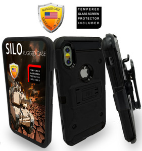 Iphone X/10/XS MM Silo Rugged Case Black(Tempered Glass Included)