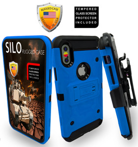 Iphone X/10/XS MM Silo Rugged Case Blue(Tempered Glass Included)