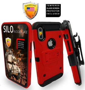 Iphone X/10/XS MM Silo Rugged Case Red(Tempered Glass Included)