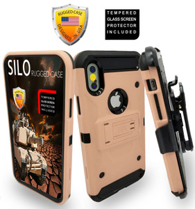 Iphone X/10/XS MM Silo Rugged Case Rose Gold(Tempered Glass Included)