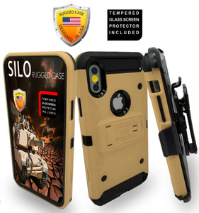 Iphone X/10/XS MM Silo Rugged Case Gold(Tempered Glass Included)