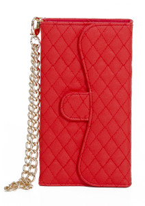 iphone 6/6S Quilted Wallet With Chain Red