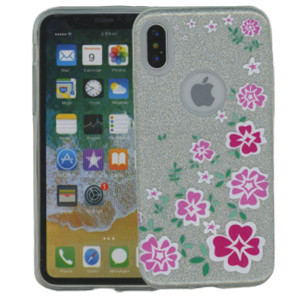 Iphone X/10/XS  MM Flowers Glitter Hybrid