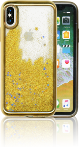 Iphone X/10/XS MM Electroplated Water Glitter Case With Stars Gold