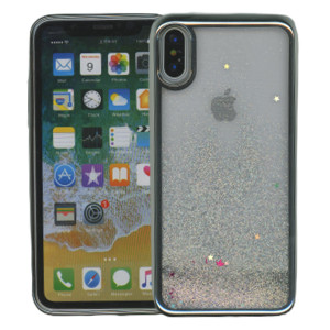 Iphone X/10/XS MM Electroplated Water Glitter Case With Stars Silver