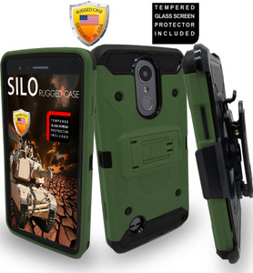LG Aristo MM Silo Rugged Case Army Green(Full Covered Tempered Glass Included)