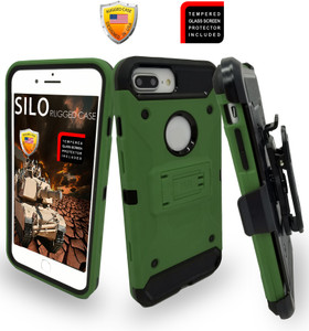 Iphone 8 PLUS/7 PLUS/6 PLUS/6S Plus MM Silo Rugged Case ARMY GREEN(Tempered Glass Included)