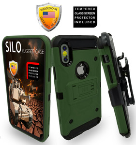 Iphone X/10/XS MM Silo Rugged Case ARMY GREEN(Tempered Glass Included)