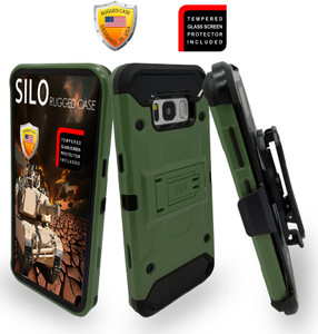 Samsung Galaxy S8 PLUS  MM Silo Rugged Case ARMY GREEN(Curved Tempered Glass Included)
