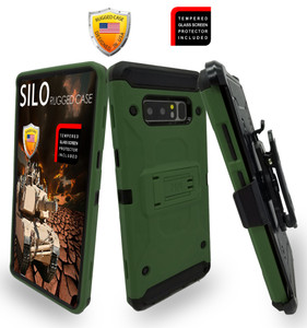 Samsung Galaxy Note 8 MM Silo Rugged Case ARMY GREEN(Curved Tempered Glass Included)