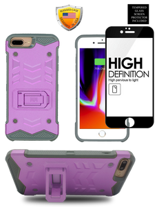 IPHONE 8 PLUS /7 PLUS  MM Opal Kickstand Case PURPLE(Tempered Glass Included)