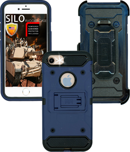 Iphone 8/7/6/SE 2020 MM Silo Rugged Case Navy(Tempered Glass Included)