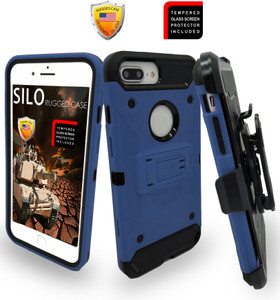 Iphone 8 PLUS/7 PLUS/6 PLUS/6S Plus MM Silo Rugged Case Dark Blue(Tempered Glass Included)