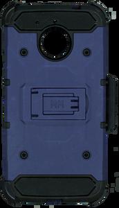 Motorola E4 PLUS MM Silo Rugged Case Dark Blue(Tempered Glass Included)
