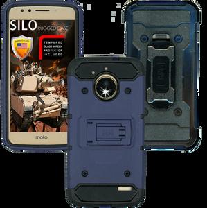 Motorola E4 MM Silo Rugged Case Dark Blue(Tempered Glass Included)