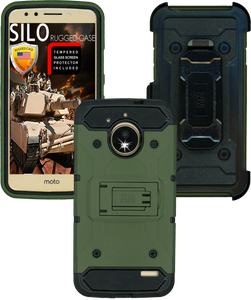 Motorola E4 MM Silo Rugged Case Army Green(Tempered Glass Included)