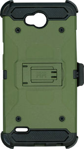 LG X Charge/Xpower 2 MM Silo Rugged Case Army Green(Tempered Glass Included)