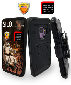 Samsung Galaxy S9 MM Silo Rugged Case Black(Curved Tempered Glass Included)