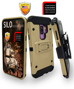 Samsung Galaxy S9 Plus MM Silo Rugged Case Gold(Curved Tempered Glass Included)