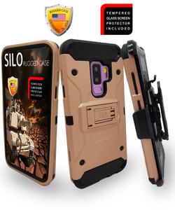 Samsung Galaxy S9 Plus MM Silo Rugged Case Rose Gold(Curved Tempered Glass Included)