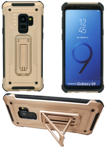 Samasung Galaxy S9 MM Opal Kickstand Case Gold(Full Curved  Tempered Glass Included)