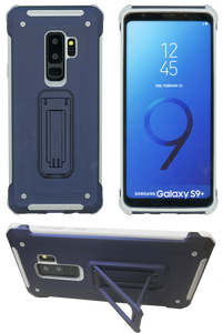 Samasung Galaxy S9 Plus MM Opal Kickstand Case Blue(Full Curved  Tempered Glass Included)