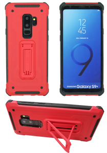 Samsung Galaxy S9 Plus MM Opal Kickstand Case Red(Full Curved Tempered Glass Included)