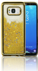 Samsung Galaxy S8 MM Electroplated Water Glitter Case With Stars Gold