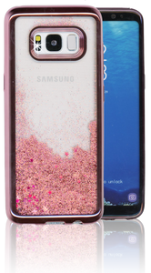 Samsung Galaxy S8 MM Electroplated Water Glitter Case With Stars Rose Gold