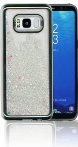 Samsung Galaxy S8 MM Electroplated Water Glitter Case With Stars Silver