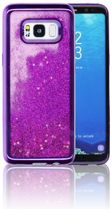 Samsung Galaxy S8 MM Electroplated Water Glitter Case With Stars Purple