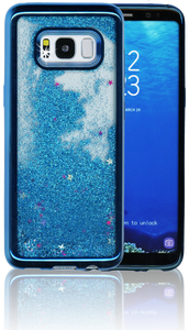 Samsung Galaxy S8 MM Electroplated Water Glitter Case With Stars Blue