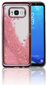 Samsung Galaxy S8 Plus MM Electroplated Water Glitter Case With Stars Rose Gold