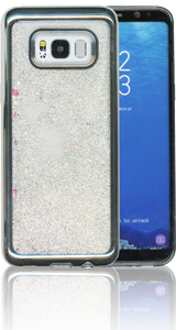 Samsung Galaxy S8 Plus MM Electroplated Water Glitter Case With Stars Silver