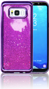 Samsung Galaxy S8 Plus MM Electroplated Water Glitter Case With Stars Purple