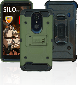 LG K10(2018)/K30 MM Silo Rugged Case Army Green (Tempered Glass Included)