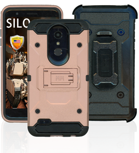 LG K10(2018)/K30 MM Silo Rugged Case Rose Gold (Tempered Glass Included)