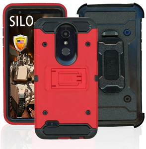 LG K10(2018)/K30 MM Silo Rugged Case Red (Tempered Glass Included)