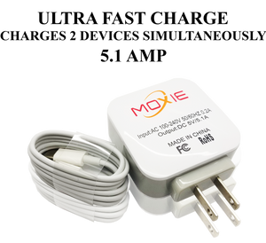 Moxie  Ultra Fast Travel Charger 5.1 AMP With (TYPE C CABLE)