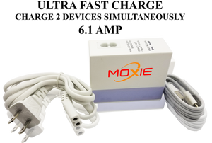 Moxie  Ultra Fast Travel Charger 6.1 AMP With(TYPE C CABLE)