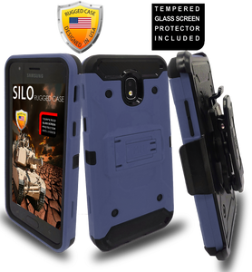 Samsung Galaxy J3(2018)MM Silo Rugged Case Navy(Tempered Glass Included)
