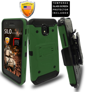 Samsung Galaxy J3(2018)MM Silo Rugged Case Army Green(Tempered Glass Included)
