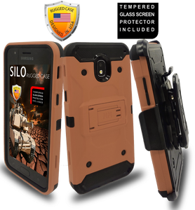 Samsung Galaxy J3(2018)MM Silo Rugged Case Rose Gold(Tempered Glass Included)