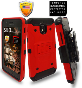 Samsung Galaxy J3(2018)MM Silo Rugged Case Red(Tempered Glass Included)