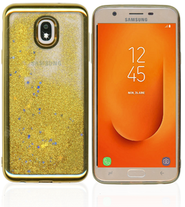 Samsung Galaxy J7 Star/Refine/(2018) MM Electroplated Water Glitter Case With Stars Gold